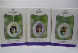 3 Hallmark Spring Easter Diorama Ornaments 2002 Peepers Chicks And Rabbits