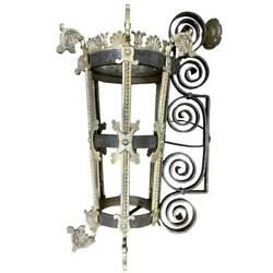 Antique Argentine Wrought Iron And Painted Bronze Two-light Bracket Sconce C. 1900
