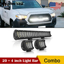 22and039and039 1200w Led Light Bar Quad Row + 4 Pods Spot Flood Combo Work Truck 20inch