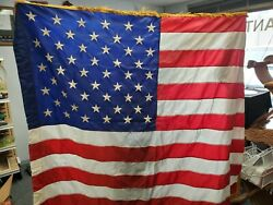 Vintage Ceremonial American 50 Sewn Star Flag 4.5 X 5and039