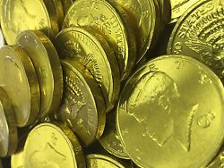Solid Milk Chocolate Large Kennedy Gold Coins 1/2 Pound - 8 Oz