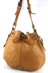 FOSSIL MADDOX Tan Drawstring Bucket Handbag Purse $45.00