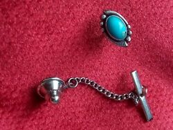 Vintage Turquoise And Sterling Silver Tie Tack Tie Pin W/back Unsigned Navajo