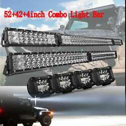54 Led Light Bar+ 42and039and039+ 4x4andldquo Pods Spotlight Combo For Hummer H1 H2 H3 Humvee Am
