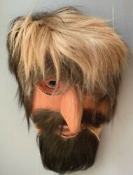 Cherokee Booger Dance Mask Vintage Native American Indian Carving Fur Holly Wood