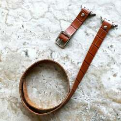 Brown Crocodile Pattern Leather Triple Wrap Band For Apple 38 40 42 44mm Watch