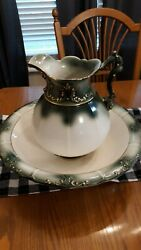 Very Large Ironstone Pitcher And Basin Set Wash Pitcher And Bowl Gold Detailing