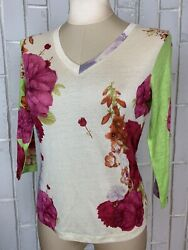 Nwt Pashma Arte Silk Cashmere Hand Woven Floral 3/4 Sleeve Thin Top M