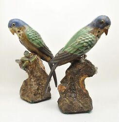 Antique Pair Shiwan Chinese Pottery Blue Headed Macaw Parrots, Early 20th