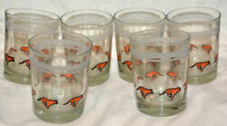 Running Bengal Tiger Drinking Clear Glass Glasses Drinkware Lot Of 6 Tigers Set