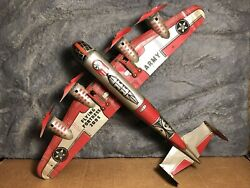 Vtg Marx | 14 Tin Windup Army Airplane | Flying Fortress 2095 | Works | Usa