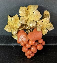 10k And Coral Turn Of Century Pin/brooch 19.4 Grams