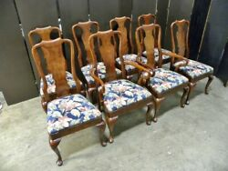 8 Solid Cherry Queen Anne Dining Chairs Salem Collection By Henredon
