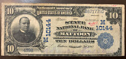 1902 National Bank Note Pb State National Bank Of Mattoon, Il Ch 10144 Rare