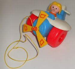 Vintage 1980 Fisher Price Plastic Little People Collectible Plastic Airplane Toy