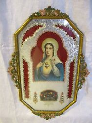 Rare Icon Relic Relef Printholy Mary Sacred Heart Immaculate Heart Of Mary