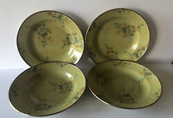 Mackenzie Childs Victoria And Richard 4 Green Floral Camp Soup Bowls-hand Signed