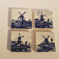 4 Vintage, Delft Blue, Tiles, Windmill And Water 2 X 2 Holland Netherlands Dutch