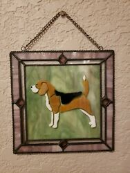 NEW Stained Glass Beagle Dog Sun Catcher Window Art 6.25quot; x 6.25quot;