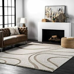 Nuloom Carolyn Cozy Soft And Plush Shag Rug 5and039 3 X 7and039 6 Cream