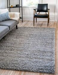 Unique Loom Solo Solid Shag Collection Modern Plush Cloud Gray Area Rug 5and039 0 X