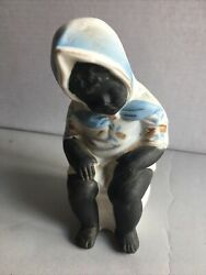 Vtg Ceramic Black figurine Child sitting on chamber pot 4""