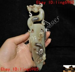 Chinese Natural Hetian Jade Carved Fengshui Dragon Beast Exorcism Dagger Knife