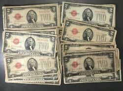 1928 Two Dollar Bill Red Seal Note Randomly Hand Picked Ag / Good Lot Of Ten