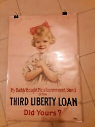 Authentic Ww I Poster 3rd Liberty Loan My Daddy Bought Me A Government Bond