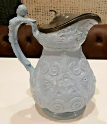 Ridgway Blue Bacchus Pitcher With Pewter Lid 11 High Circa 1840