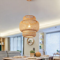 Modern Tiered Dining Room Suspension Pendant Light Bamboo Yellow Ceiling Lamp