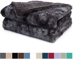 The Connecticut Home Company Luxury Faux Fur Bed Throw Blanket Queen Full Size