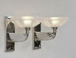 Petitot And Ezan Large Pair Of French 1930 Opalescent Art Deco Wall Sconces France