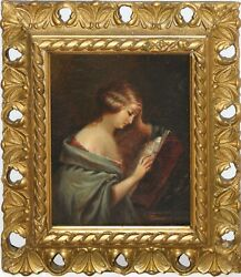 Antique Pre-raphaelite Era/old Master Style Oil-young Woman And Music Book-1886