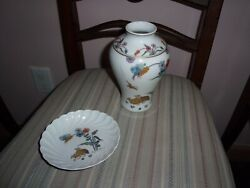 Haviland Limoges Golden Quail Vase, And Small Dish
