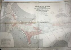 Antique 1889 Map Of Boston Inner Harbor Bridges To Upper Middle Channel