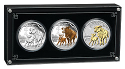 2021 Lunar Series Iii Year Of The Ox 1oz Silver Trio 1 3-coin Set 3oz-total