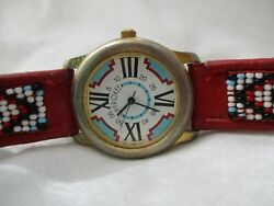 Cherokee Watch Colorful Red Gold Toned Roman Numerals Beads Geometric