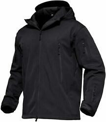 Magcomsen Menand039s Hooded Tactical Jacket Water Resistant Soft Shell Fall Winter Co