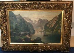 19th C. Monumental Landscape Oil Painting In Museum Quality Frame By Anton Pick