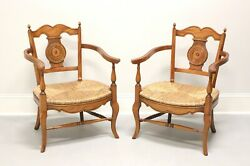 French Country Style Rush Seat Lounge Chairs From Colony Furniture - Pair