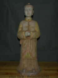 24.4 Antique China Ceramics Pottery Carved Dynasty Official People Man Statue
