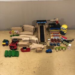 Vintage Mixed Wooden Train Lot Set, Trains, Characters, Trees, Boat And More