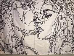 """NEW 60""""x40"""" Abstract Scribble Romantic Kissing White amp; Black Tapestry Wall Decor"""