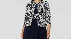 246 Jessica Howard Womenand039s Blue Floral Print Open Front Jacket Coat Size 20w