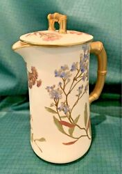 Original Hand Painted And Signed Royal Worcester Chocolate Pot 9 C1900