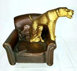 Very Rare Antique Jennings Brothers Bronze Hunting Dog And Chair Sculpture