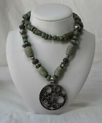 Pre Columbian Jade Necklace Ancient Mayan Maya 500-950ad Speckled Jaguar Spotted