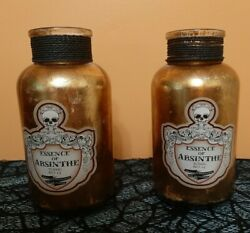 Set Of 2gold Leafed Apothecary/ Potion Bottle Decor7.75inessence Of Absinthe