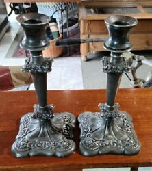 E G Webster And Sons Ny 501 ♡ Silverplate Candlesticks ♡ 8.75'' Tall X 4'' Base